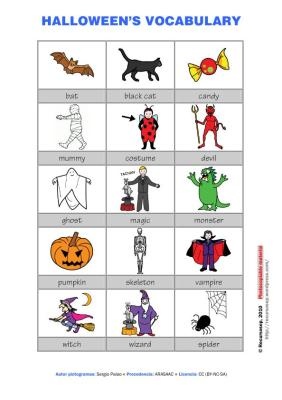 vocabulario en pictogramas halloween a color IMAGEN
