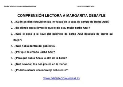COMPRENSIÓN LECTORA BARBA AZUL IMAGENES 2