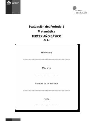 TERCERO  DE PRIMARIA EVALUACION MATEMATICA PRIMER TRIMESTRE IMAGEN