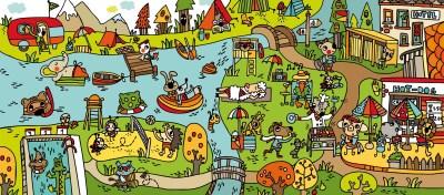 Colección de Láminas en color XL  para trabajar atención, percepción vocabulariode camping
