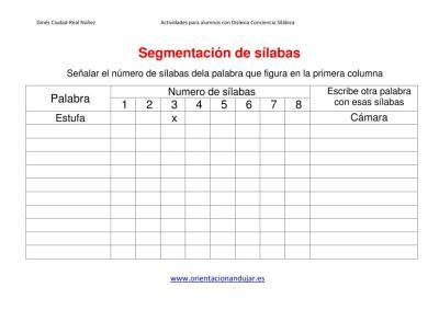 Ejercicios dislexia segmentacion de sílabas plantilla imagen