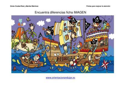 lamina de piratas encuentra las diferencias PIRATAS 1