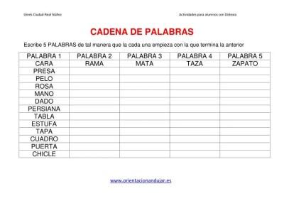 ACTIVIDAES DISLEXIA CADENA DE PALABRAS imagen 2