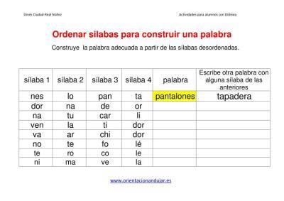 Ejercicios dislexia ordenar sílabas para construir una palabra imagen 2