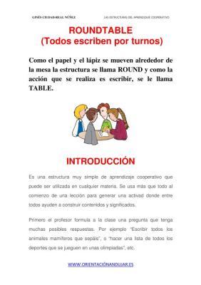 Estructura de aprendizaje cooperativo RoundTable