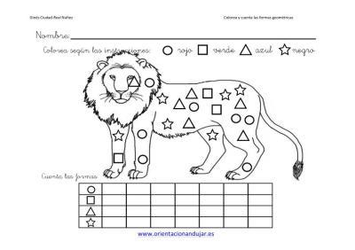 colorea y cuenta las formas geometricas con animales imagenes_2