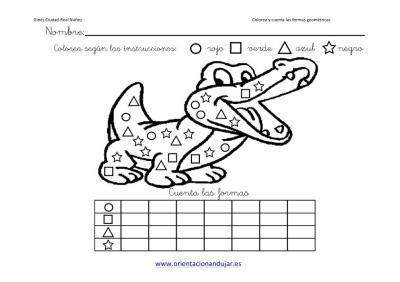 colorea y cuenta las formas geometricas con animales imagenes_5
