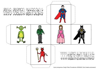 cubo para contar historias color personajes