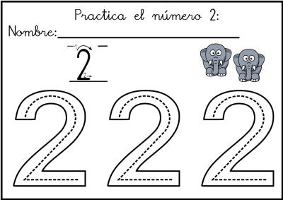 lectoescritura de numeros el 2 ficha 5