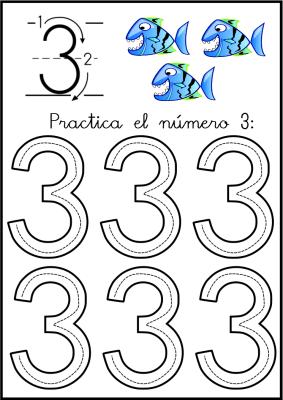 lectoescritura de numeros el 3 ficha 5