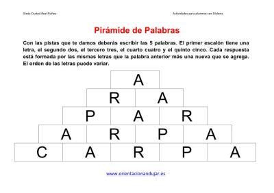 piramide de palabras o letras ejemplo imagen 1