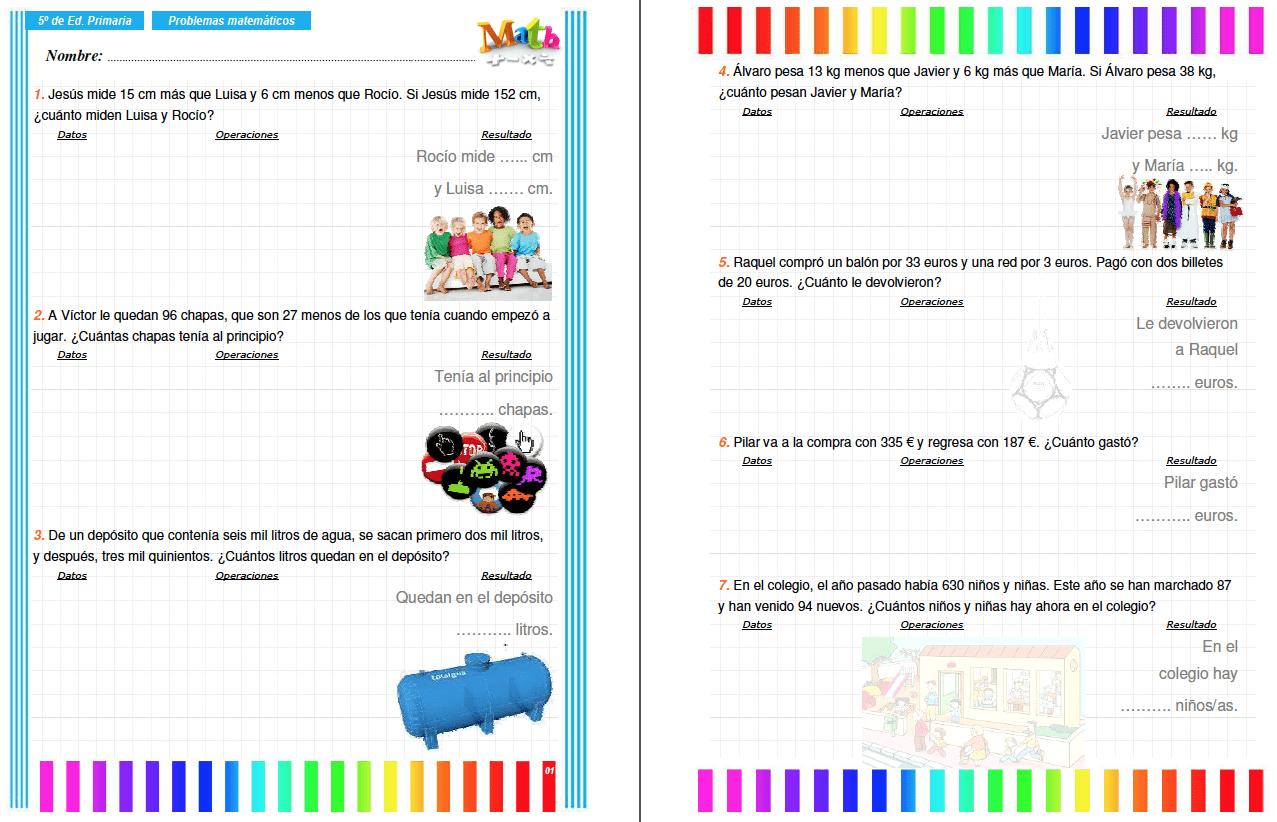 Colección de problemas para 5º de Primaria en PDF ...