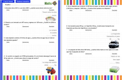 cuaderno 4 primaria de problemas pdi