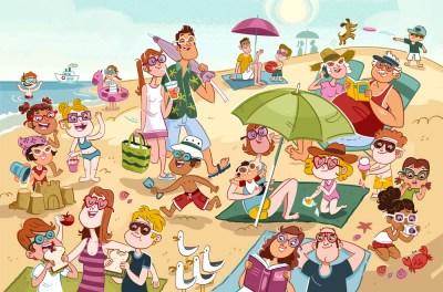 lamina expresion oral en la playa