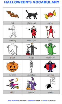 Vocabulario en inglés con pictogramas en color halloween