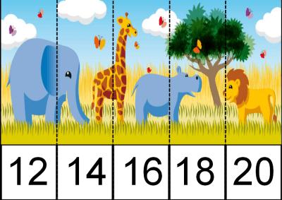 PUZZLES recorta y pega de dos en dos nivel inicial  LA SELVA 2