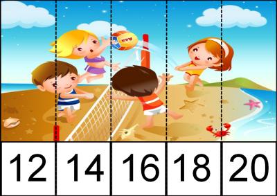 PUZZLES recorta y pega de dos en dos nivel inicial  PLAYA 1
