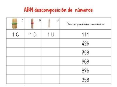 ABN descomposición de numeros hasta centenas10