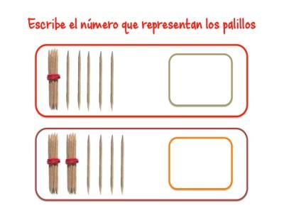 ABN Escribe el número que representan los palillos centenas 4