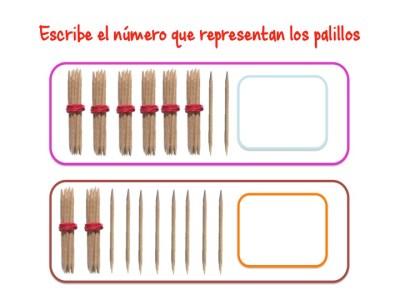 ABN Escribe el número que representan los palillos centenas 8