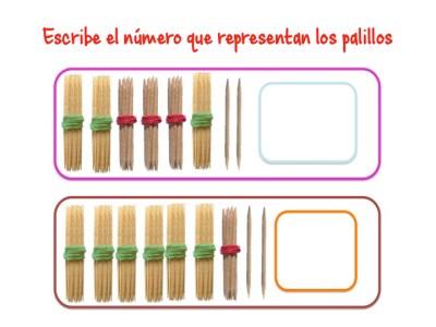 ABN Escribe el número que representan los palillos unidades de millar12