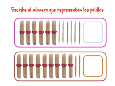 ABN Escribe el número que representan los palillos unidades de millar9