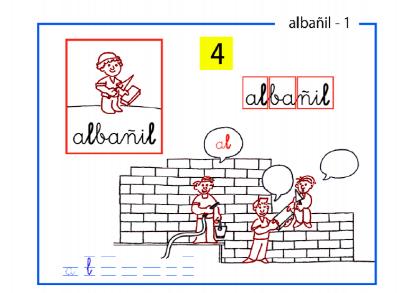Lectoescritura paso a paso sílabas inversas al-albañil al-el-il-ol-ul