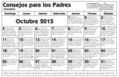 Primaria últimos cursos Calendario con actividades Octubre para hacer con nuestros hijos e hijas actividades