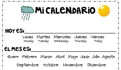 Fichas para trabajar el tiempo en infantil y primaria mi primer calendario