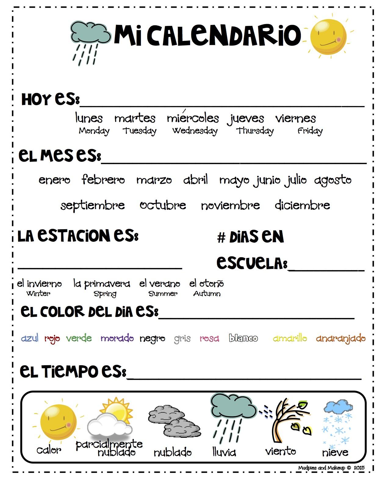 Trabjar Calendario En Ingles Y Espanol