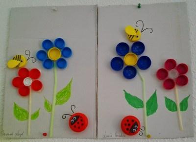 Mural primaveral clasificamos tapones por colores, reciclamos, creamos y nos divertimos  1