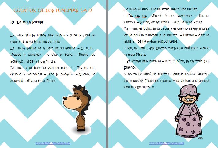 Cuentos fonemas letra u La mula pirula Orientacion Andujar