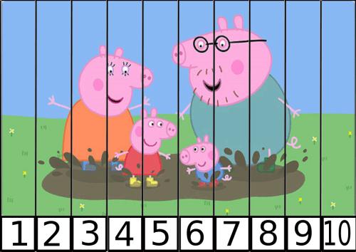 puzles de numeros pepa pig 1-10-2