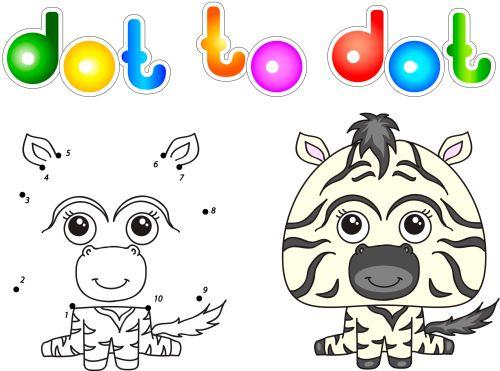 41838094 - funny and cute zebra. vector illustration for children. dot to dot game
