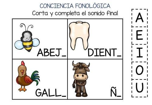 Conciencia fonológica vamos a Jugar con el Sonido Final VOCAL (3)
