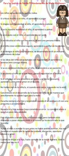 Para los padres de familia 19 Mandamientos de María Montessori -001
