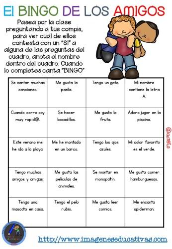 """Actividad para los primeros días de clase """"El BINGO DE LOS AMIGOS"""" (2)"""