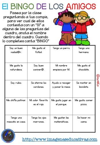 """Actividad para los primeros días de clase """"El BINGO DE LOS AMIGOS"""" (5)"""