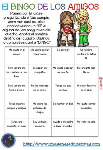 """Actividad para los primeros días de clase """"El BINGO DE LOS AMIGOS"""" (8)"""