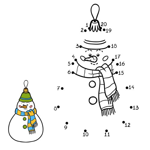Numbers game, education dot to dot game for children. Christmas toys, snowman