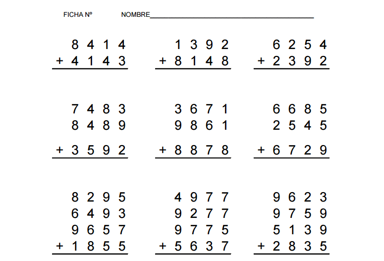 100 fichas de sumas variadas listas para imprimir -Orientacion Andujar