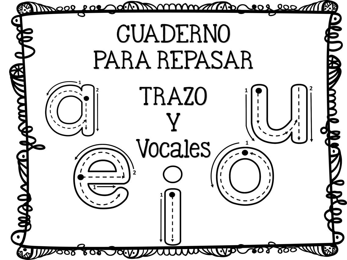 Fichas de trazo y grafomotricidad para las vocales en