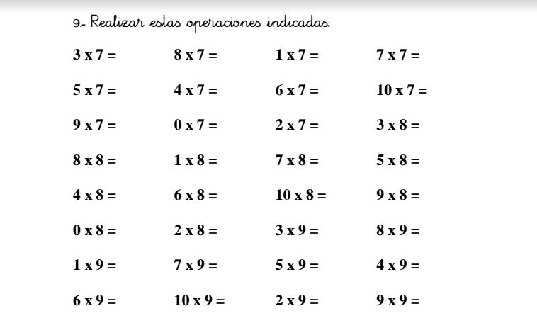 Fichas Para Repasar Las Tablas De Multiplicar Orientacion Andujar