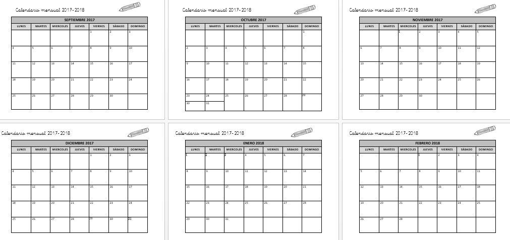 Calendario mensual 2017-2018 PLANIFICA TU CURSO editable ...