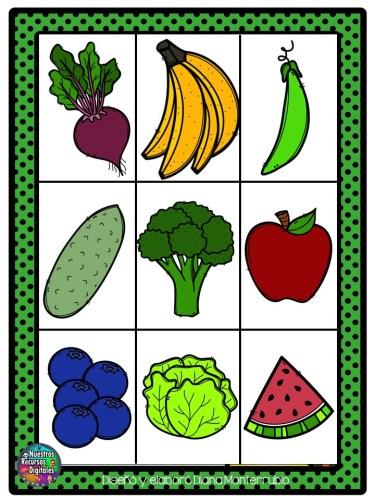 Cartas De Lotería Para Trabajar Frutas Y Verduras