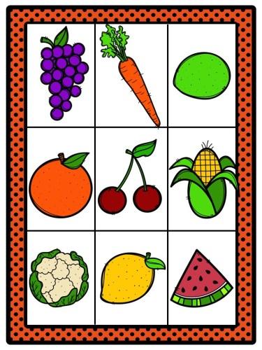 Cartas De Lotería Para Trabajar Frutas Y Verduras Orientacion Andujar