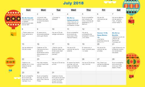 Mes De Julio Calendario.Calendario De Actividades Para Trabajar La Lectura De 0 A 5