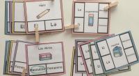 Tarjetas para trabajar los artículos determinados definidos, masculino y femenino: el la los las Vocabulario objetos de clase/colegio