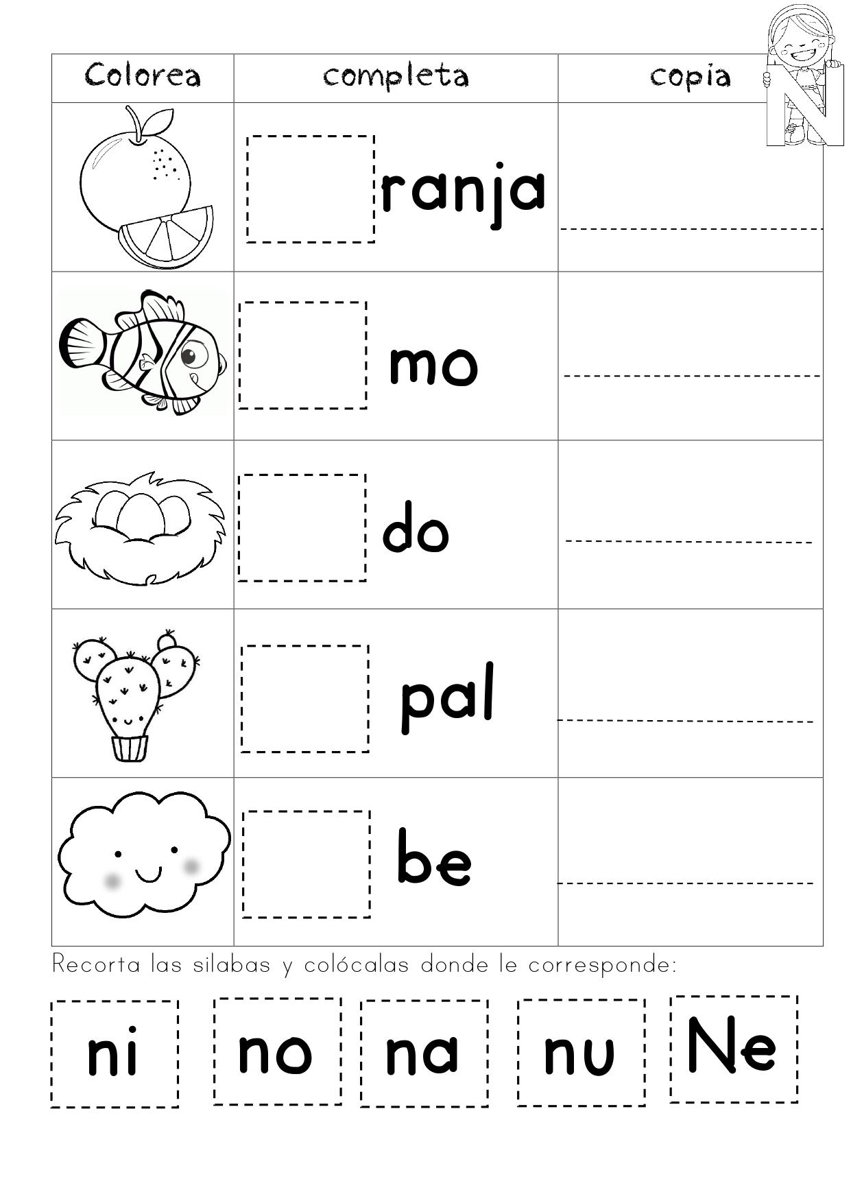 Las Silabas Worksheets