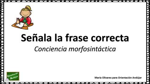 Conciencia Morfosintáctica Sólo Una Frase Esta